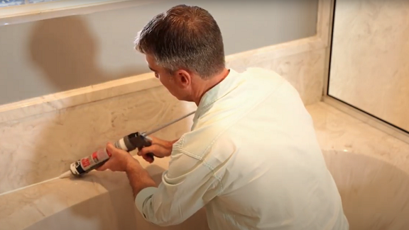 caulk a bathroom